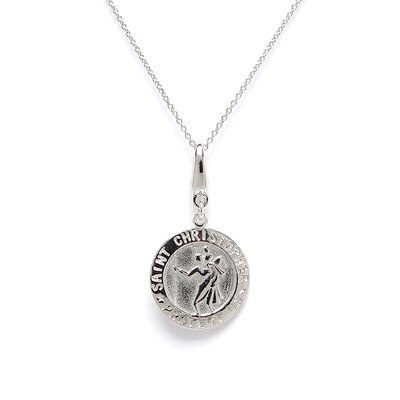 <strong>EZ Charms</strong> Sterling Silver St Christopher Disc Charm