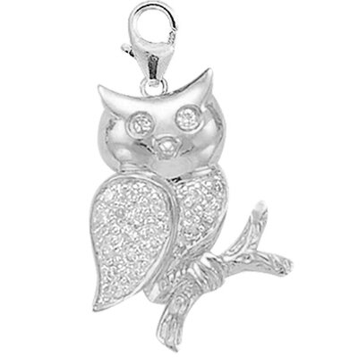 EZ Charms 14K 1.27 Grams White Gold Diamond Owl Charm