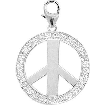 14K White Gold Diamond Peace Sign Charm