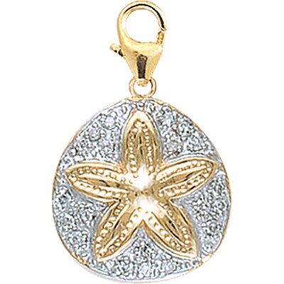 EZ Charms 14K Yellow Gold Diamond Sand Dollar Charm