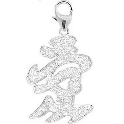 14K White Gold Diamond Chinese-Love Charm