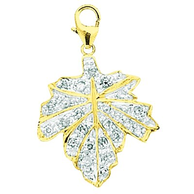 EZ Charms 14K Yellow Gold Diamond Maple Leaf Charm