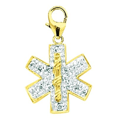 EZ Charms 14K Yellow Gold Diamond Medical Symbol Charm