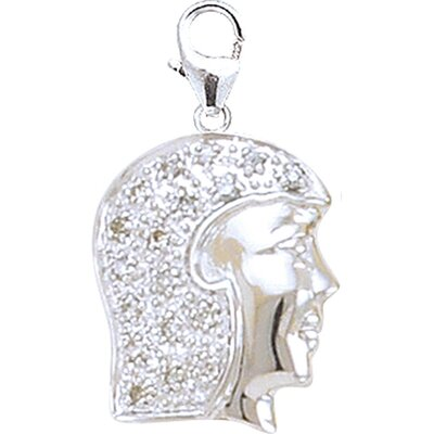 14K White Gold Diamond Girls' Head Charm