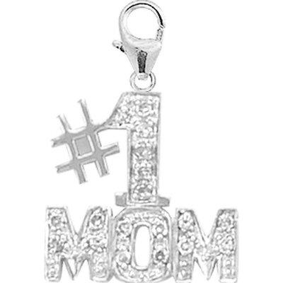 EZ Charms 14K White Gold Diamond #1 Mom Charm