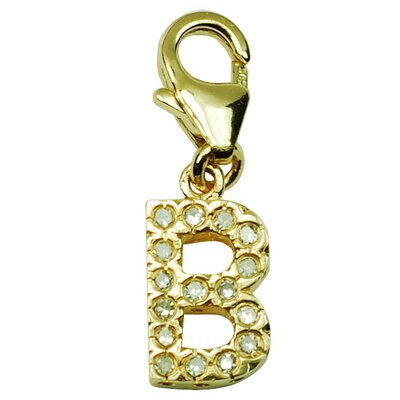 14K Yellow Gold Diamond Initial B Charm