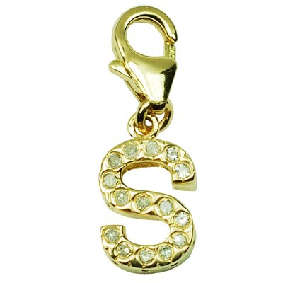 14K Yellow Gold Diamond Initial S Charm