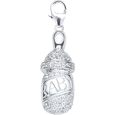 EZ Charms 14K White Gold Diamond Baby Bottle Charm