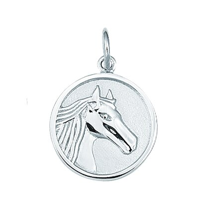 Sterling Silver Round Horse Head Disc Charm
