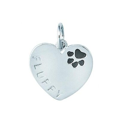 Sterling Silver Heart with Enamel Paw Print and Fluffy Name Dog Charm