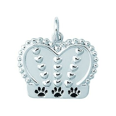 Sterling Silver Dog King Crown with 3 Black Enamel Paw Prints on Edge Charm