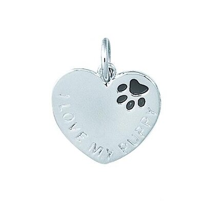 EZ Charms Sterling Silver I Love My Puppy Heart with Black Enamel Paw Print Charm