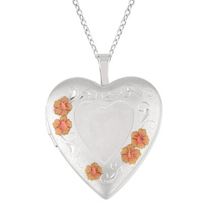 EZ Charms Heart Shaped Locket with Flowers in Silver