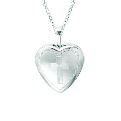EZ Charms Heart Shaped Locket with Cross in Silver