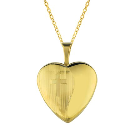 Heart Shaped Locket Necklace with Cross in Gold