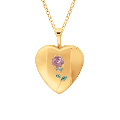 Heart Shaped Locket Necklace with Rose in Gold
