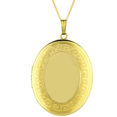Oval Shaped Locket with Greek Key Border in Gold