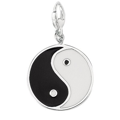 EZ Charms Sterling Silver Yin Yang Black and White Enamel Charm