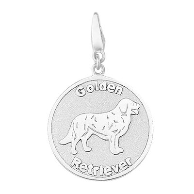 Sterling Silver Golden Retriever Round Disc Charm