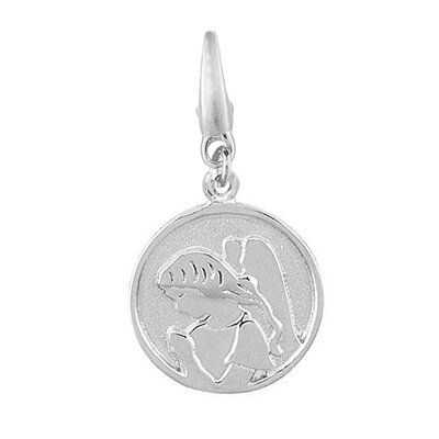 Sterling Silver Round Angel Disc Charm