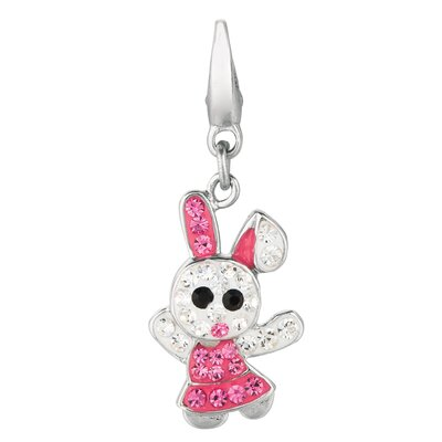 EZ Charms Crystal Bunny Rabbit Charm with Swarovski Elements
