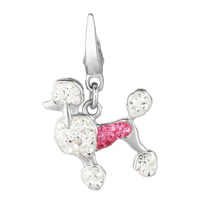 EZ Charms Crystal Poodle Charm with Swarovski Elements