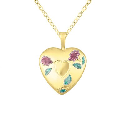 EZ Charms Colored Flowers Heart Locket Necklace