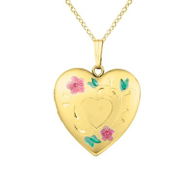 EZ Charms Heart Shaped Locket with Flowers Necklace