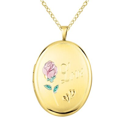 "EZ Charms Rose ""Love"" Oval Locket Necklace"