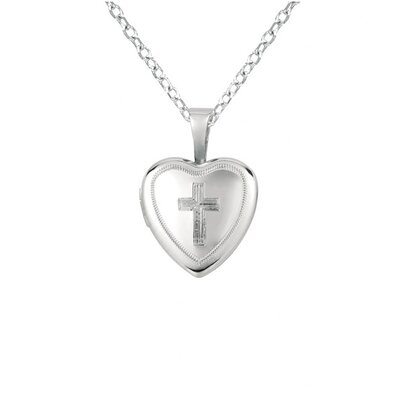 EZ Charms Cross Heart-Shaped Locket Necklace
