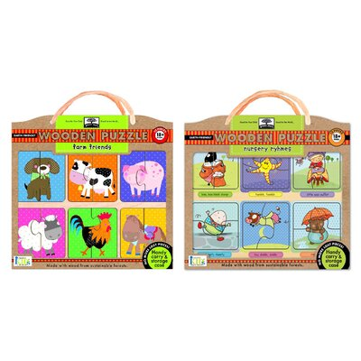 Green Start Wooden Puzzle Combo Pack: Nursery Rhymes and Farm Friends