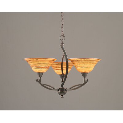 Toltec Lighting Bow 3 Uplight Chandelier with Firré Saturn Glass Shade