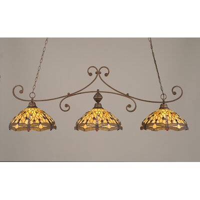 Toltec Lighting Curl 3 Light Kitchen Island Pendant