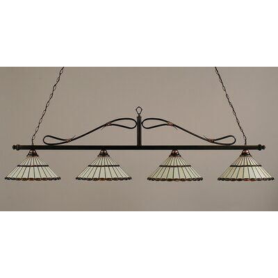 Toltec Lighting 4 Light Wrought Iron Rope Kitchen Island Pendant