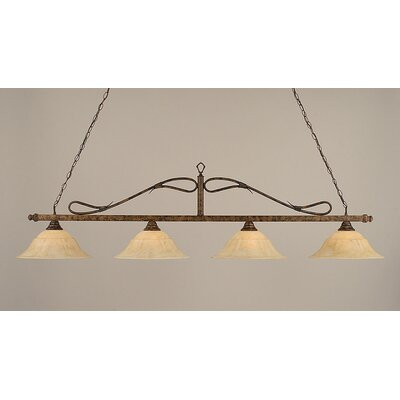 4 Light Wrought Iron Rope Kitchen Island Pendant