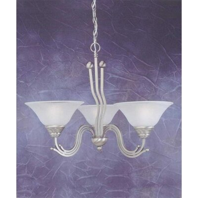 Toltec Lighting Wave 3 Light  Chandelier with Dew Drop Glass Shade
