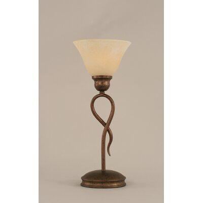"Toltec Lighting Leaf Mini Table Lamp with 7"" Amber Marble Glass Shade"