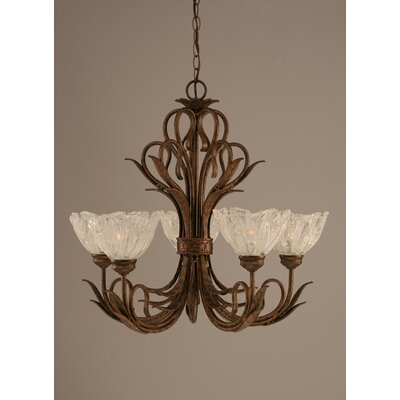 Swan 5 Light Chandelier with Italian Ice Glass Shade