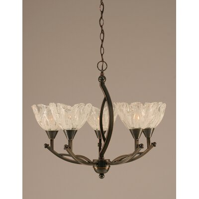 Toltec Lighting Bow 5 Light Up Chandelier with Glass Shade