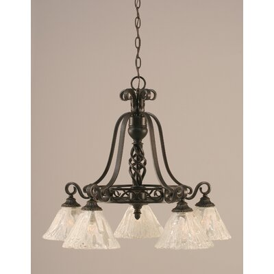 Toltec Lighting Eleganté 5 Light Down Chandelier with Glass