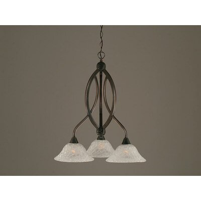 Bow 3 Light Chandelier with Glass Shade