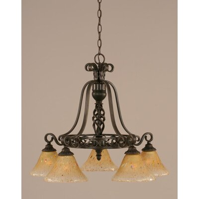 Toltec Lighting Eleganté 5 Downlight Chandelier with Marble Glass