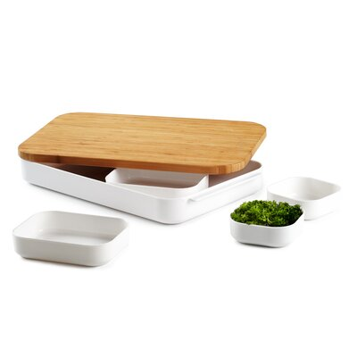 Bento Seven Piece Cut and Prep Bamboo Cutting Board and Prep Bowl Set