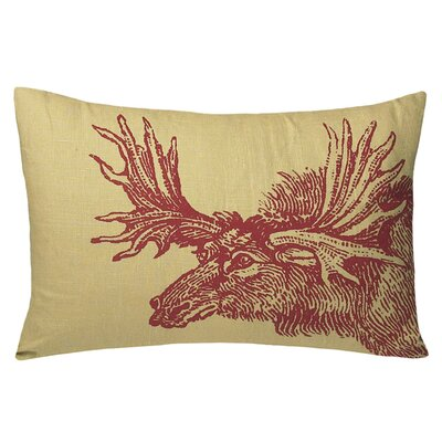 Kevin O'Brien Studio Moose Decorative Pillow in Red / Wheat