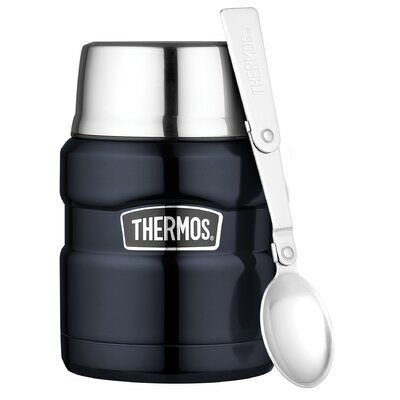 Thermos King 16 oz Food Jar with Folding Spoon in Midnight Blue