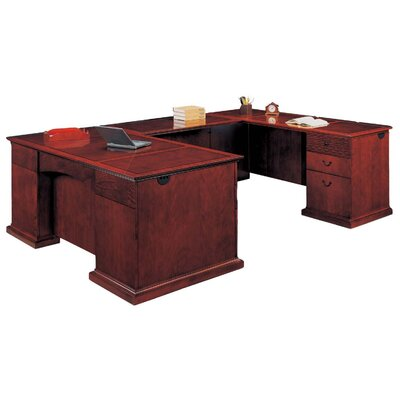 DMI Office Furniture Del Mar Executive L-Shape Bow Front Desk with Right Return