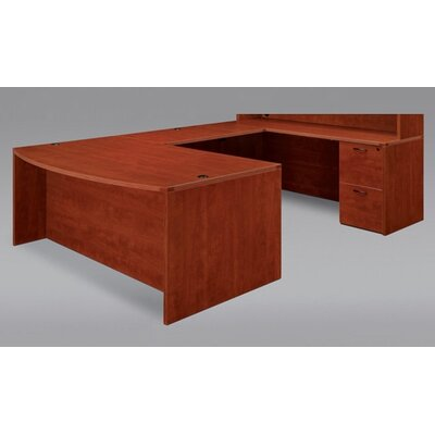 "DMI Office Furniture Fairplex Bow Front U Executive Desk with 24"" Corner Credenza"