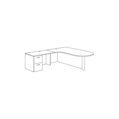 "DMI Office Furniture Fairplex Right Corner Peninsula/Bullet ""L"" Executive Desk"
