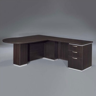 "DMI Office Furniture Pimlico 72"" W Right Peninsula L-Shape Executive Desk (Flat Pack)"