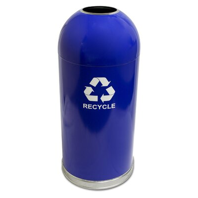 Witt Metal Series 15 Gallon Open Dometop Recycling Container with Galvanized Liner and Recycle Logo